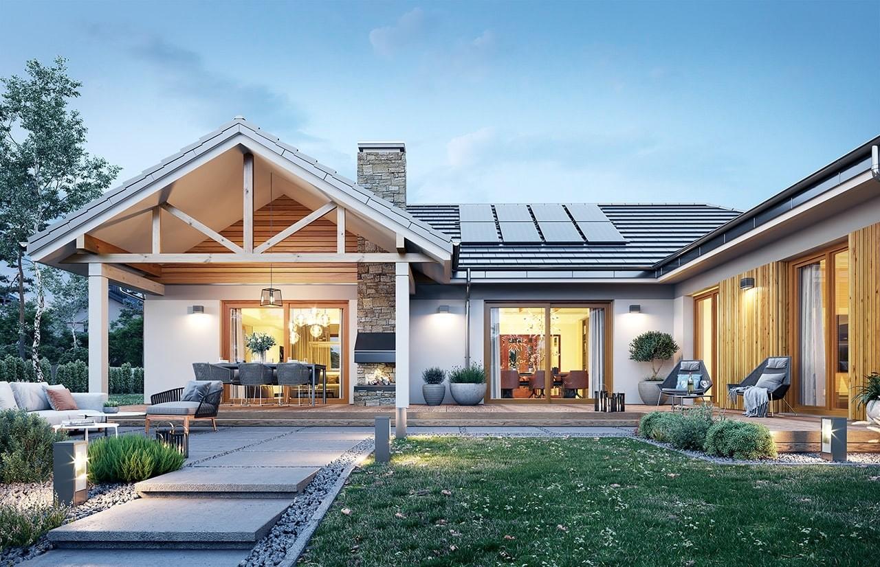 Projekt domu Hanka 2 - wizualizacja ogrodowa odbicie lustrzane