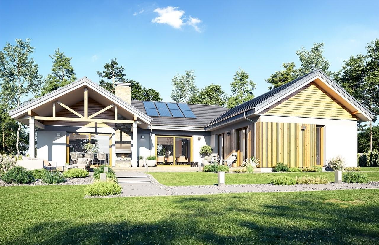 Projekt domu Hanka 2 - wizualizacja ogrodowa 2 odbicie lustrzane