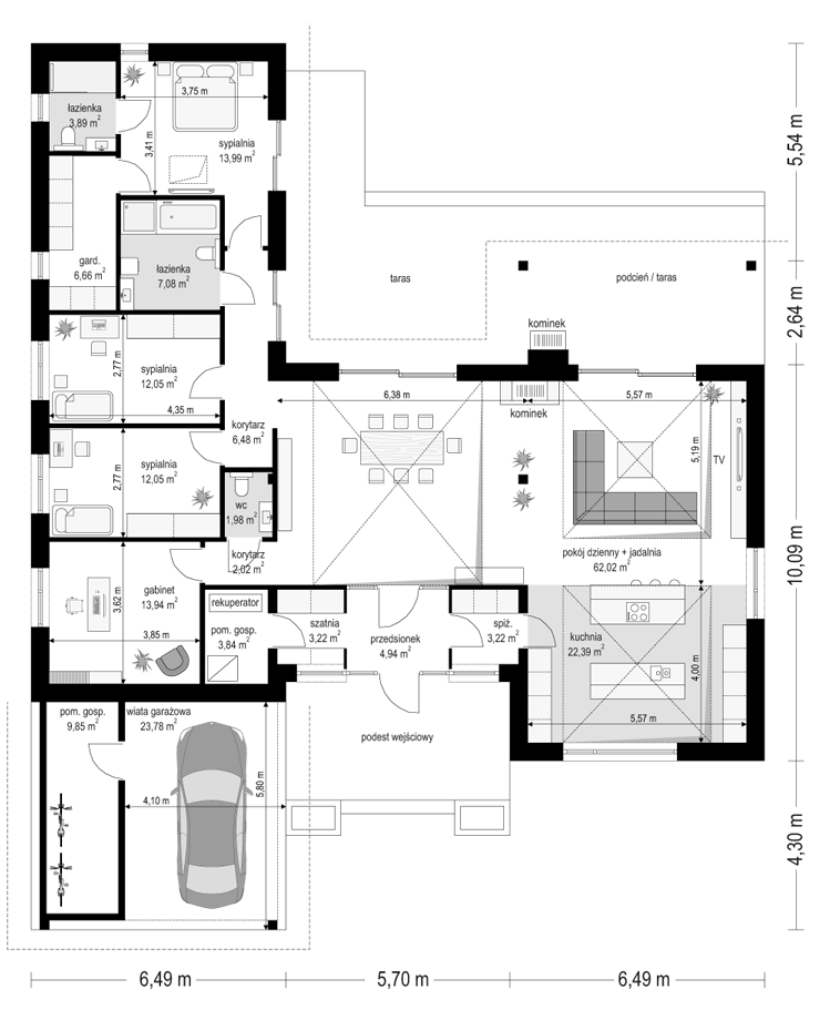 Projekt domu Hanka - rzut parteru 3 odbicie lustrzane