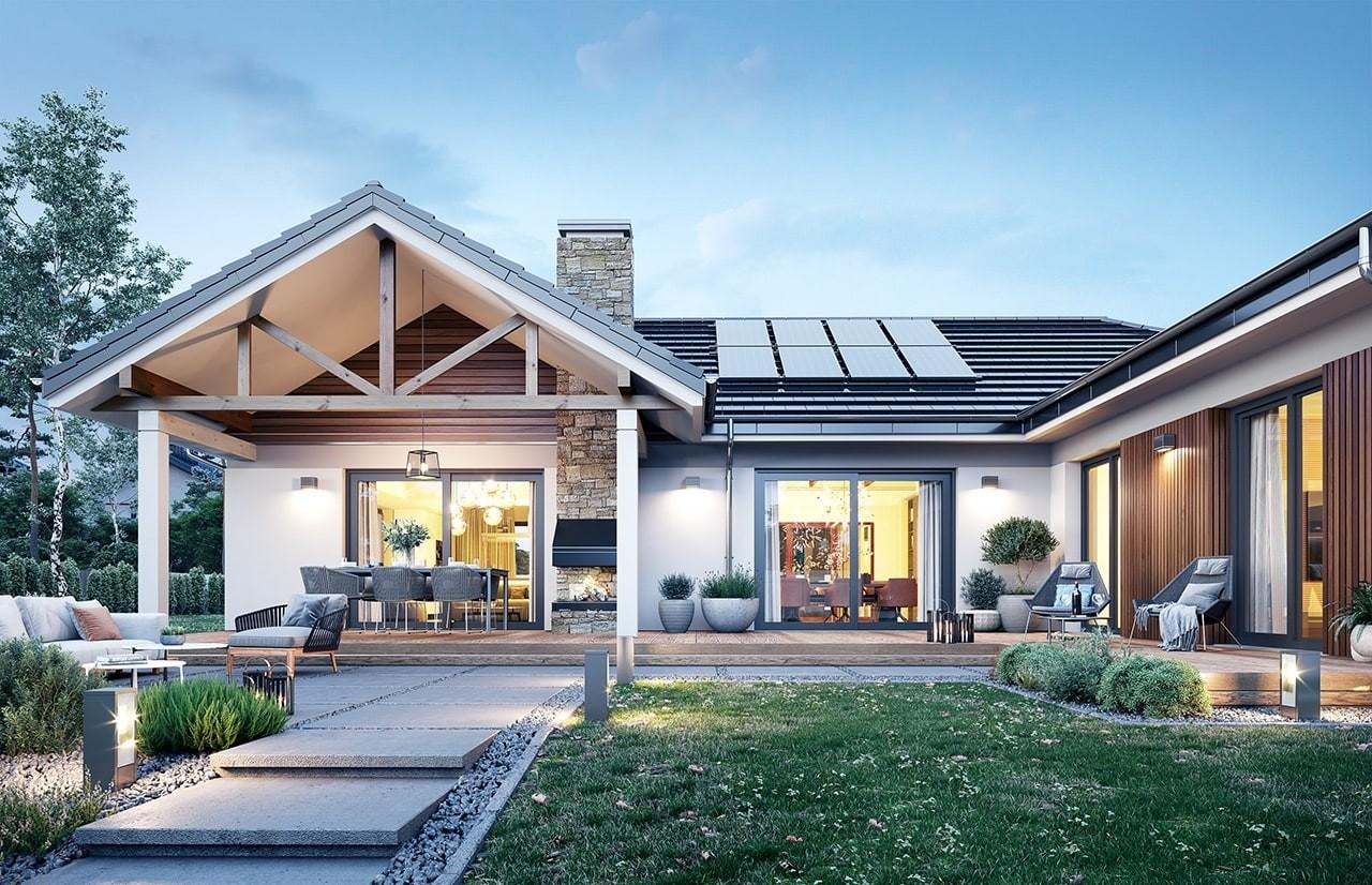 Projekt domu Hanka 3 - wizualizacja ogrodowa odbicie lustrzane