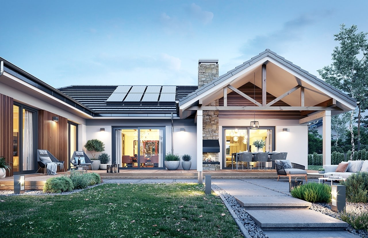 Projekt domu Hanka 3 - wizualizacja ogrodowa