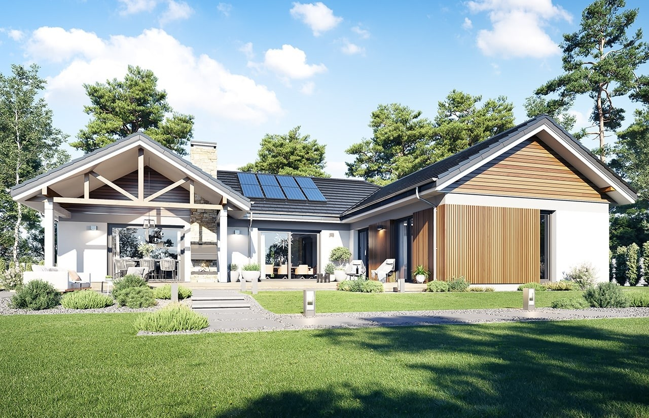Projekt domu Hanka 3 - wizualizacja ogrodowa 2 odbicie lustrzane