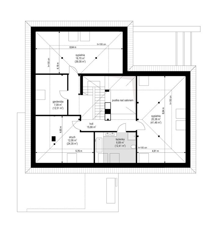 Projekt domu Hiacynt - rzut poddasza