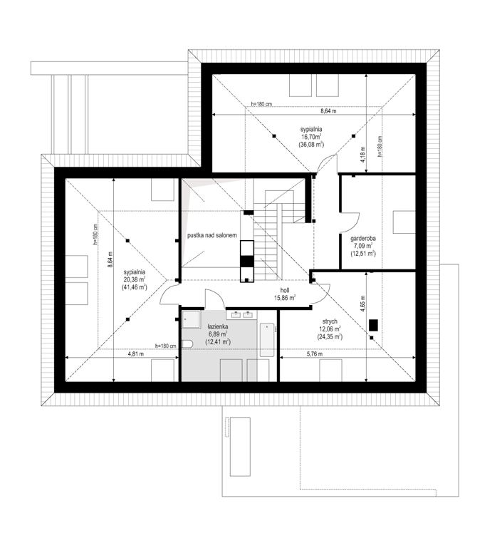 Projekt domu Hiacynt - rzut poddasza odbicie lustrzane
