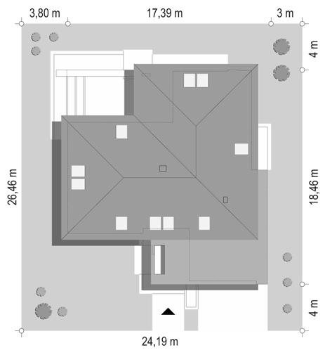 Projekt domu Hiacynt - sytuacja odbicie lustrzane