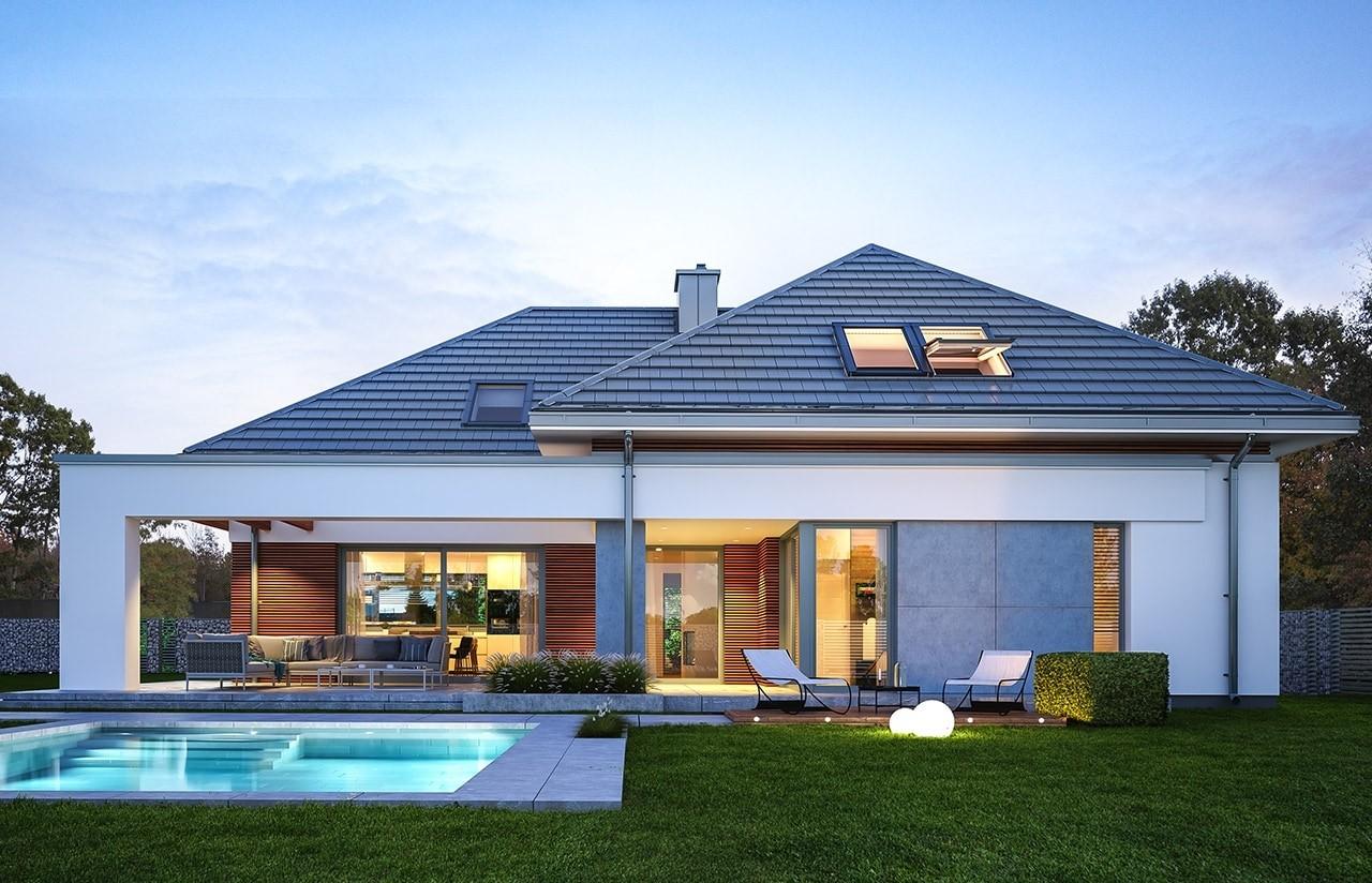 Projekt domu Hiacynt - wizualizacja tylna