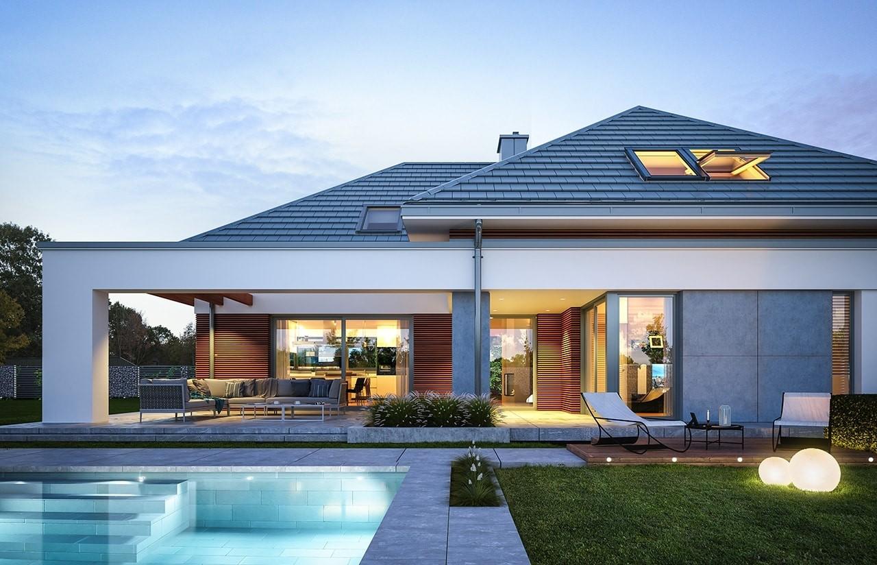 Projekt domu Hiacynt - wizualizacja tylna 2