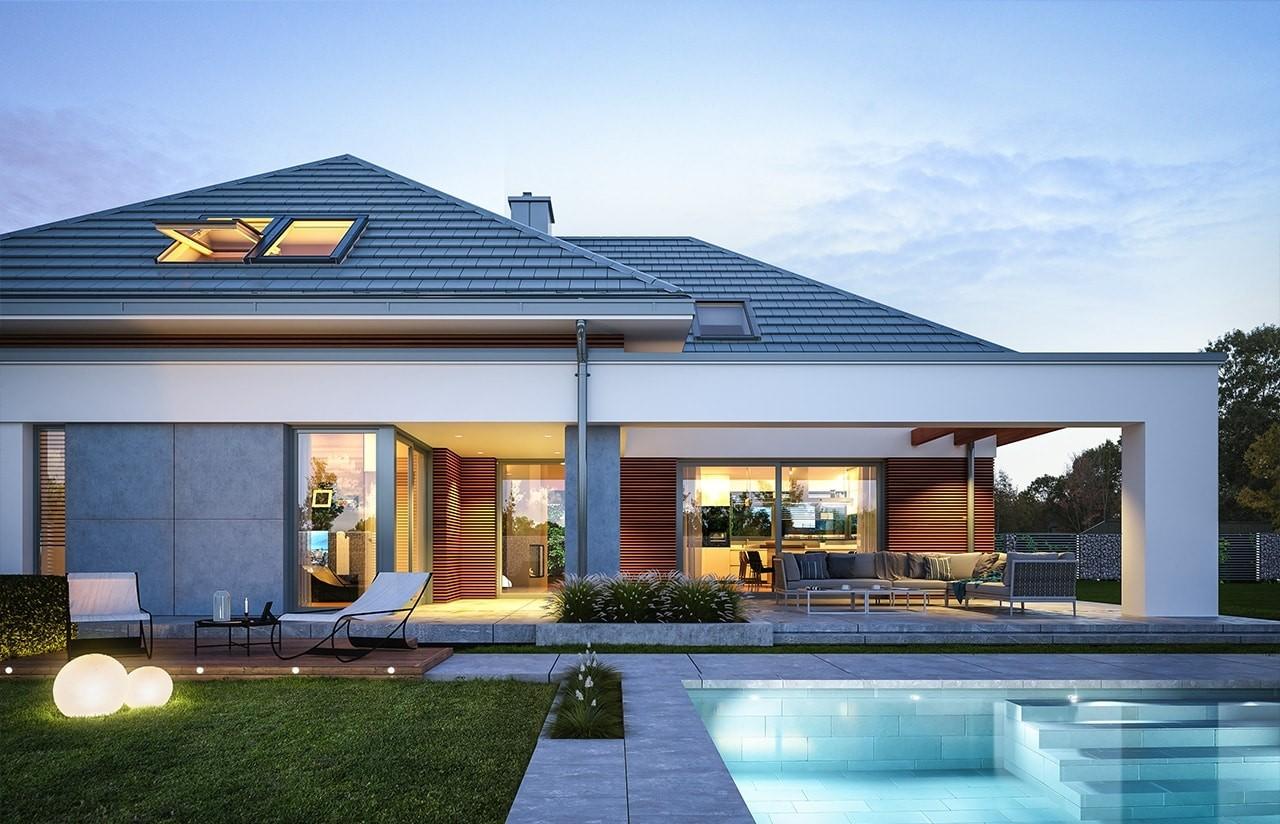Projekt domu Hiacynt - wizualizacja tylna 2 odbicie lustrzane