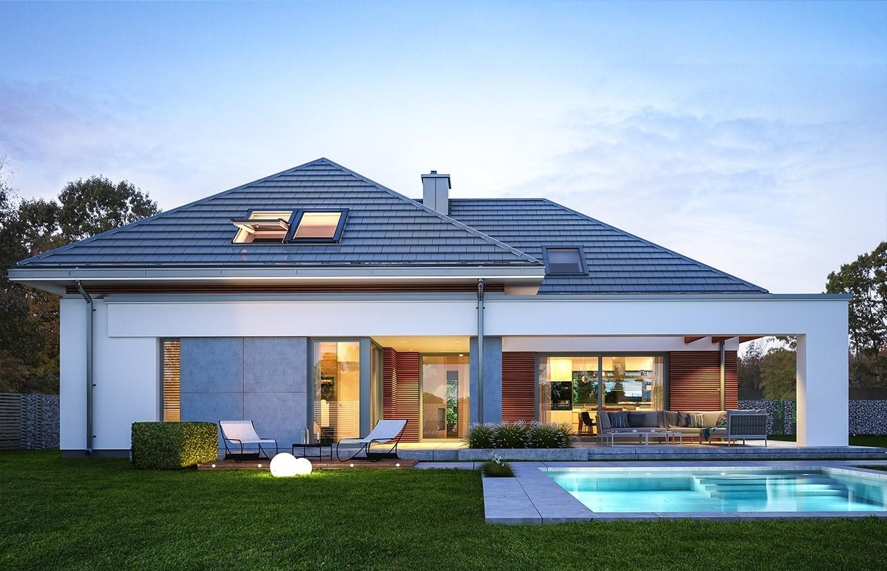 Projekt domu Hiacynt - wizualizacja tylna odbicie lustrzane