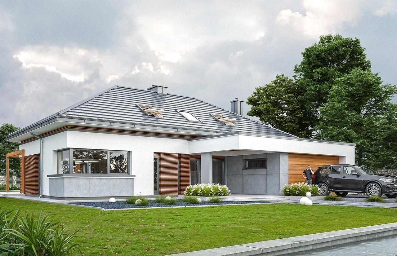 Projekt domu Hiacynt 2 - wizualizacja frontu odbicie lustrzane