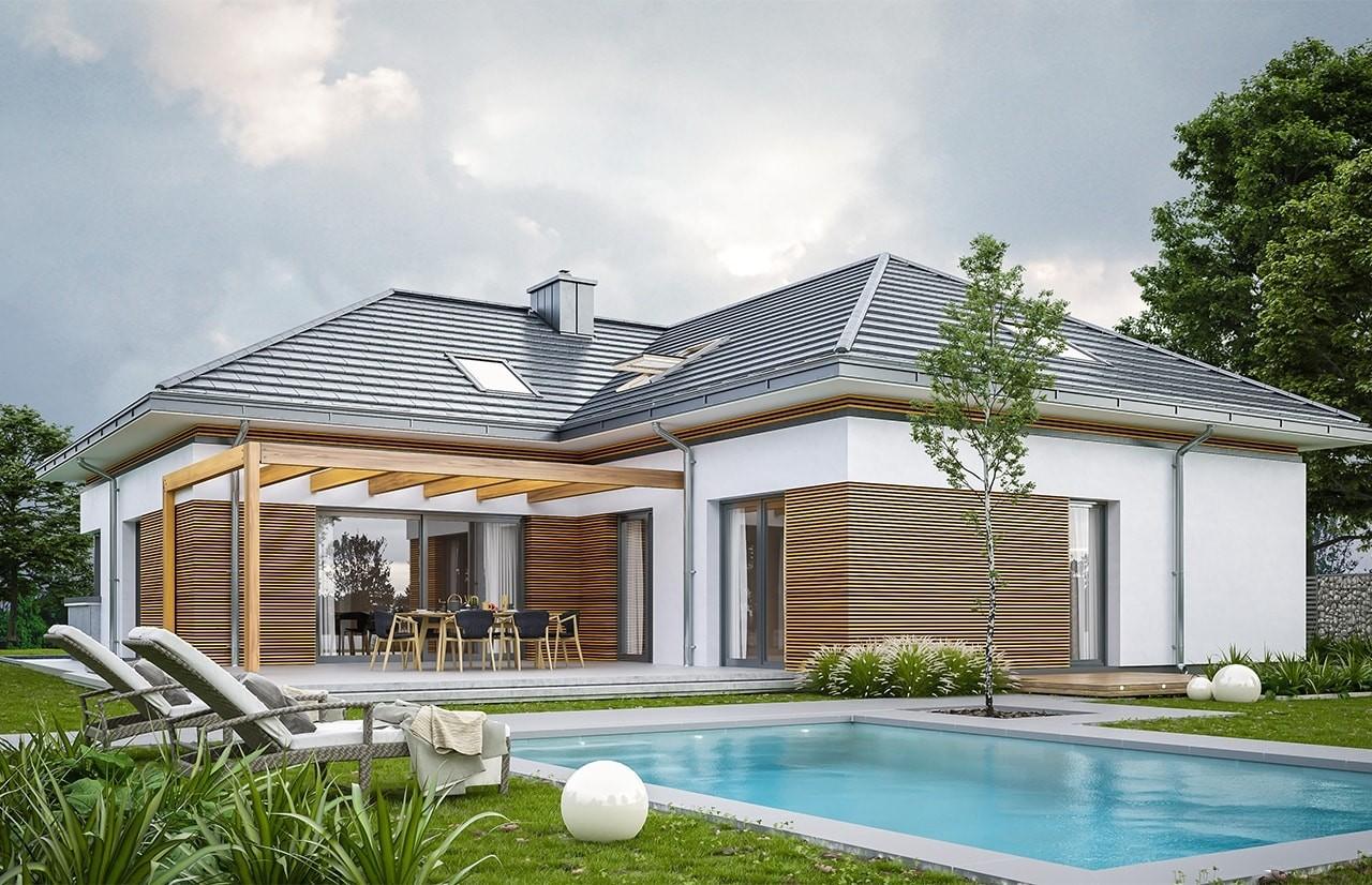 Projekt domu Hiacynt 2 - wizualizacja tylna