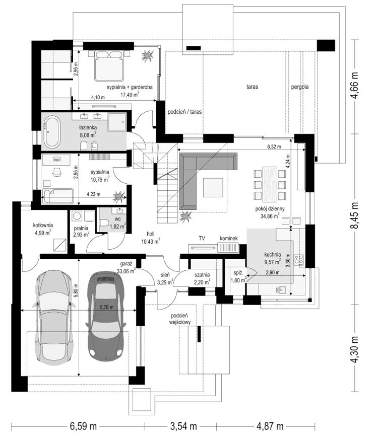 Projekt domu Hiacynt 3 - rzut parteru