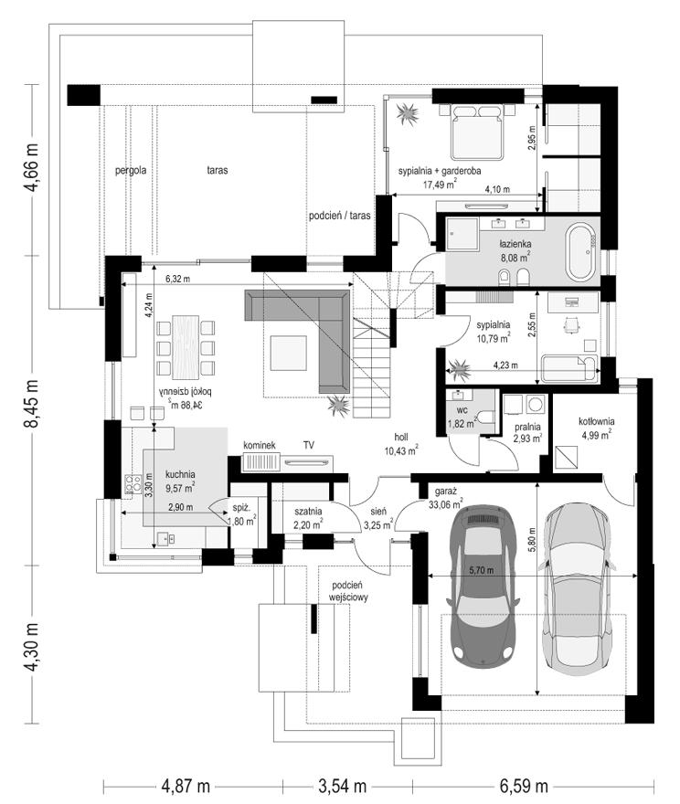 Projekt domu Hiacynt 3 - rzut parteru odbicie lustrzane