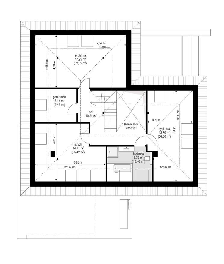 Projekt domu Hiacynt 3 - rzut poddasza