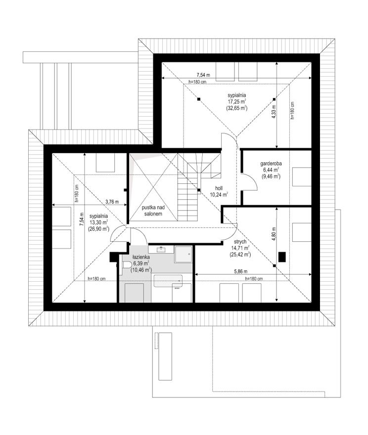 Projekt domu Hiacynt 3 - rzut poddasza odbicie lustrzane