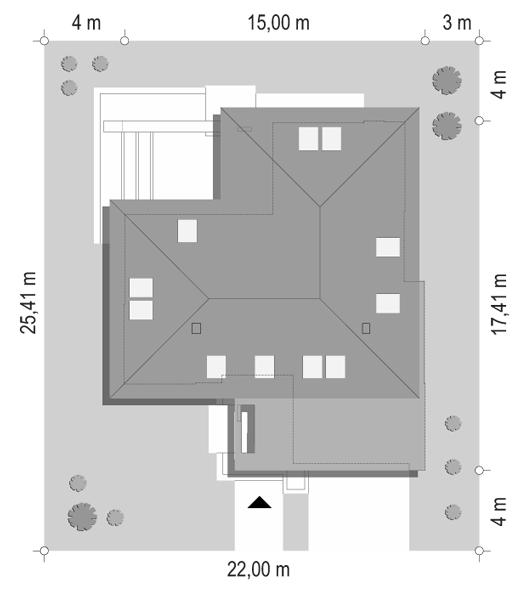 Projekt domu Hiacynt 3 - sytuacja odbicie lustrzane