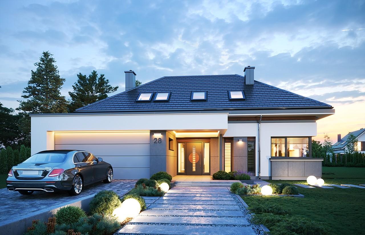 Projekt domu Hiacynt 3 - wizualizacja frontu 2