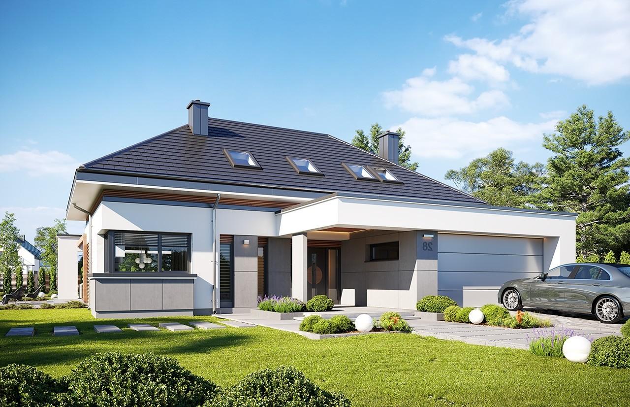 Projekt domu Hiacynt 3 - wizualizacja frontu 3 odbicie lustrzane