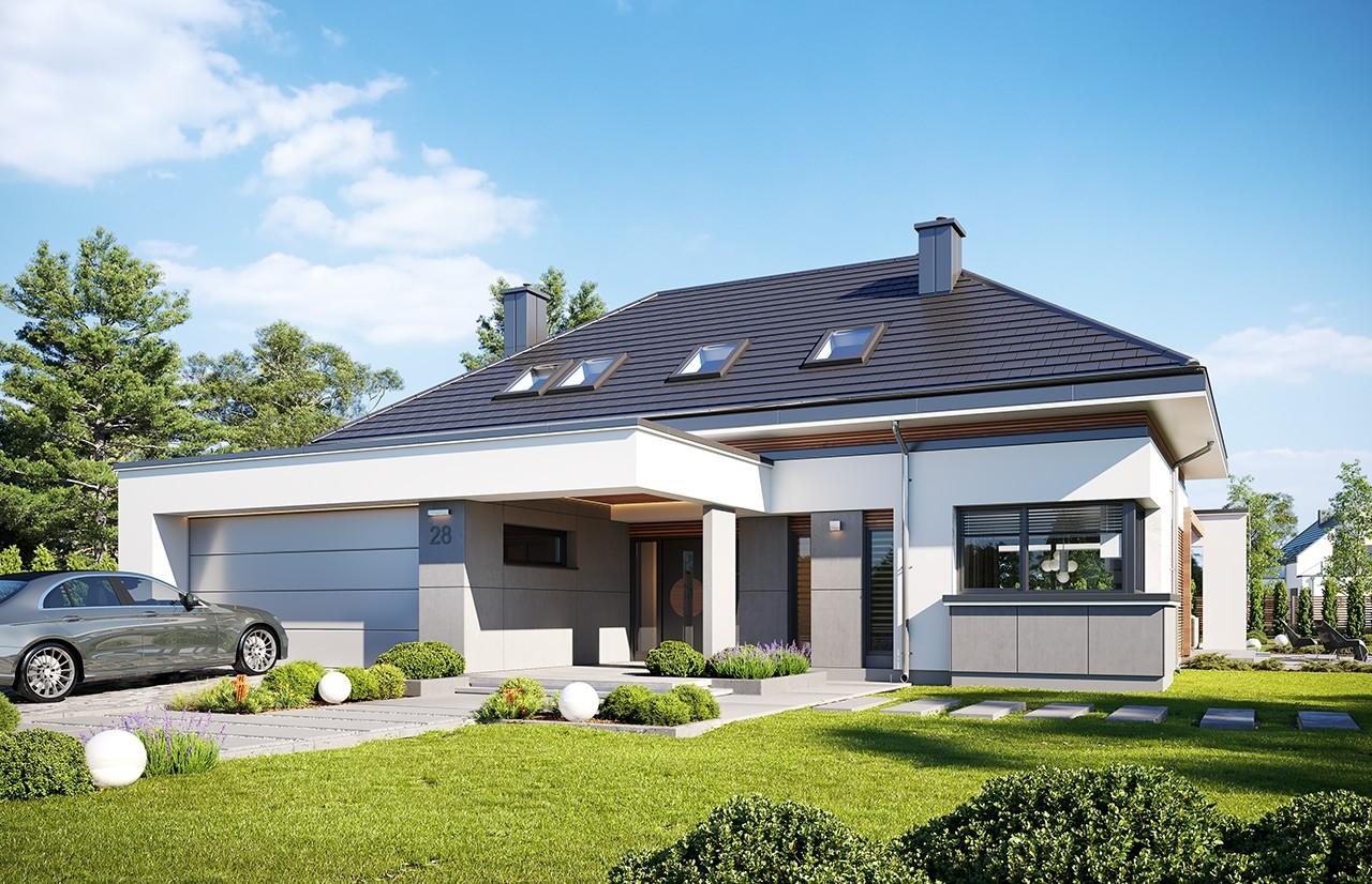 Projekt domu Hiacynt 3 - wizualizacja frontu 3