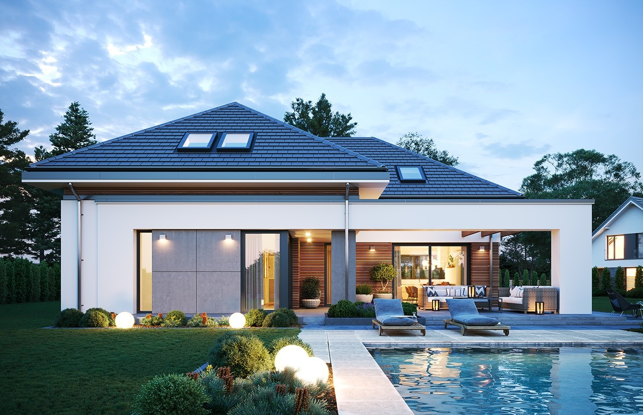 Projekt domu Hiacynt 3 - wizualizacja ogrodowa odbicie lustrzane