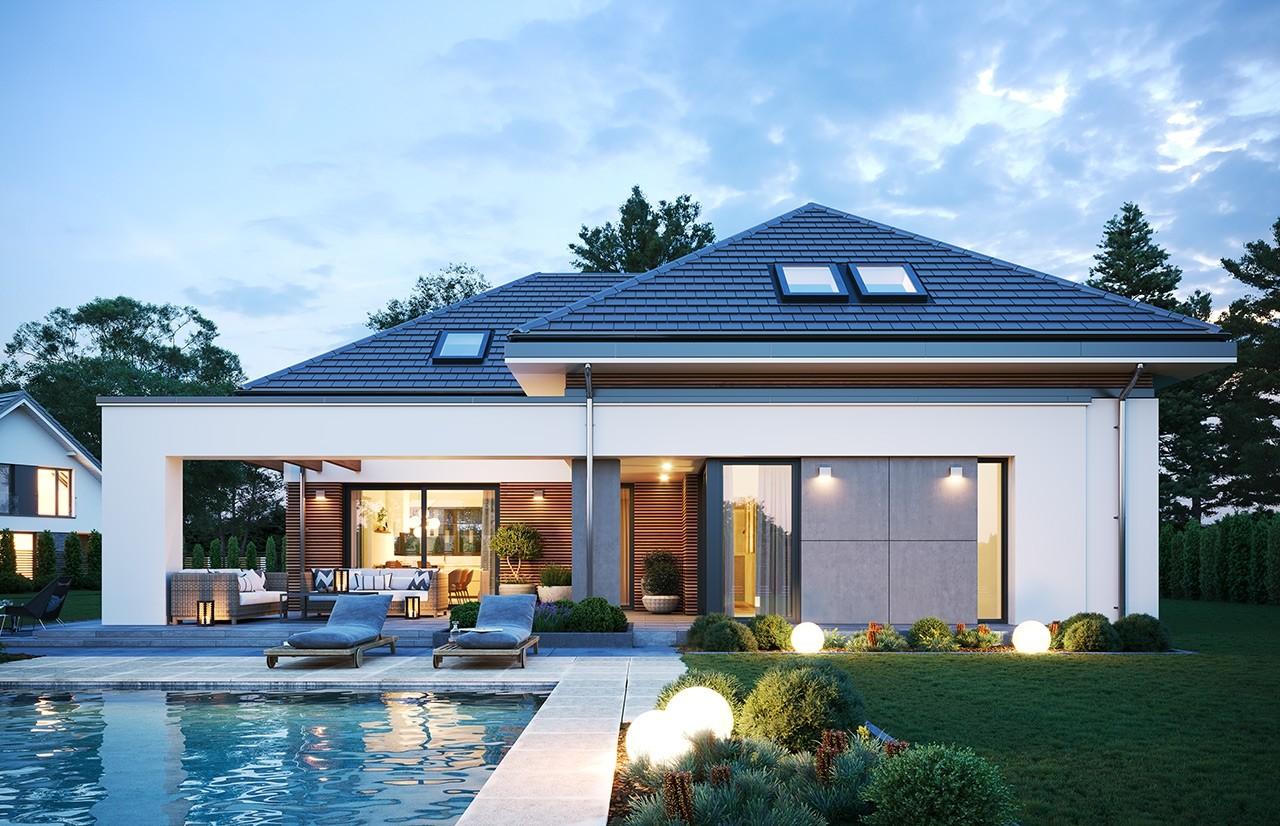 Projekt domu Hiacynt 3 - wizualizacja ogrodowa