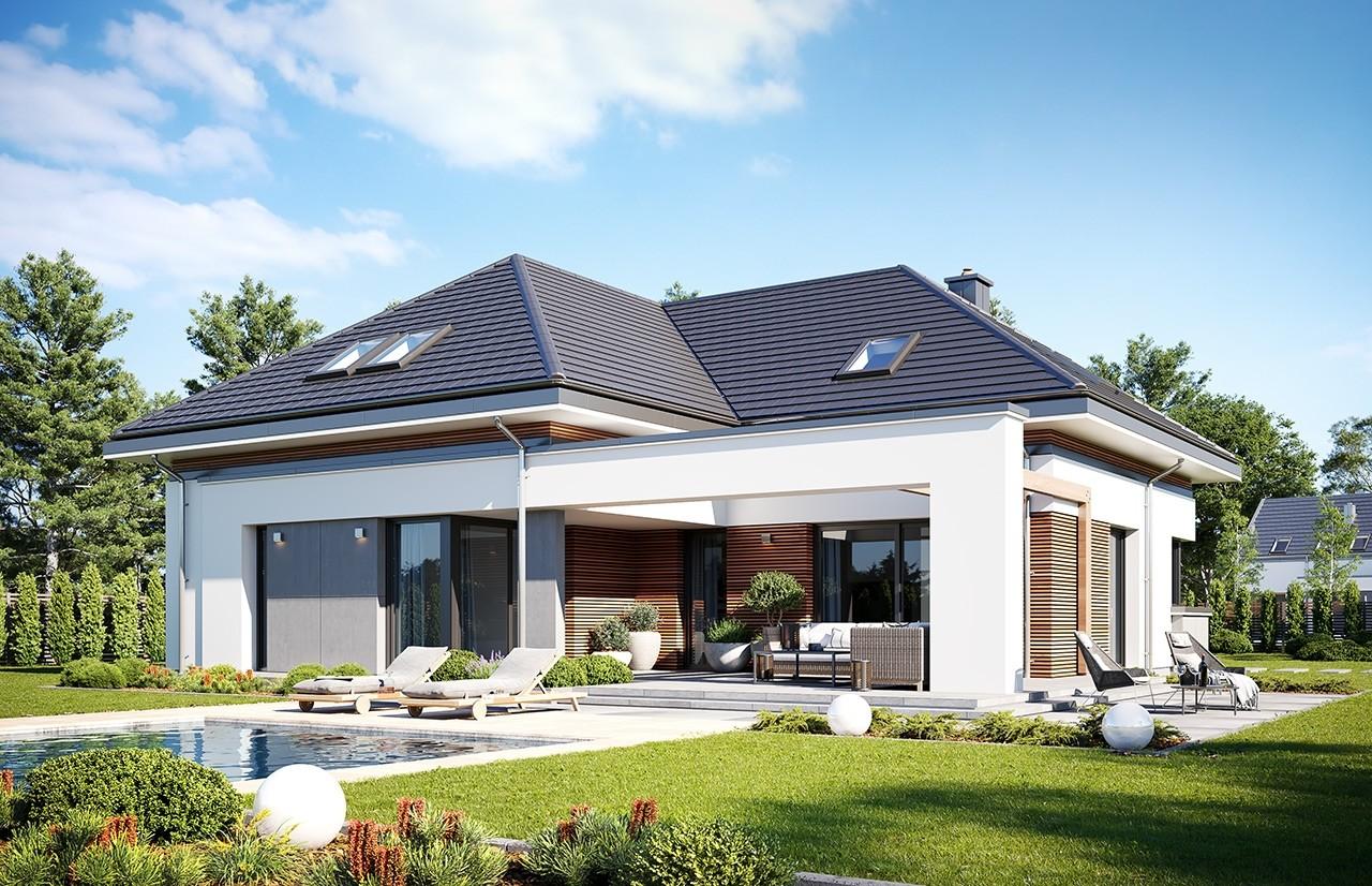 Projekt domu Hiacynt 3 - wizualizacja ogrodowa 2 odbicie lustrzane