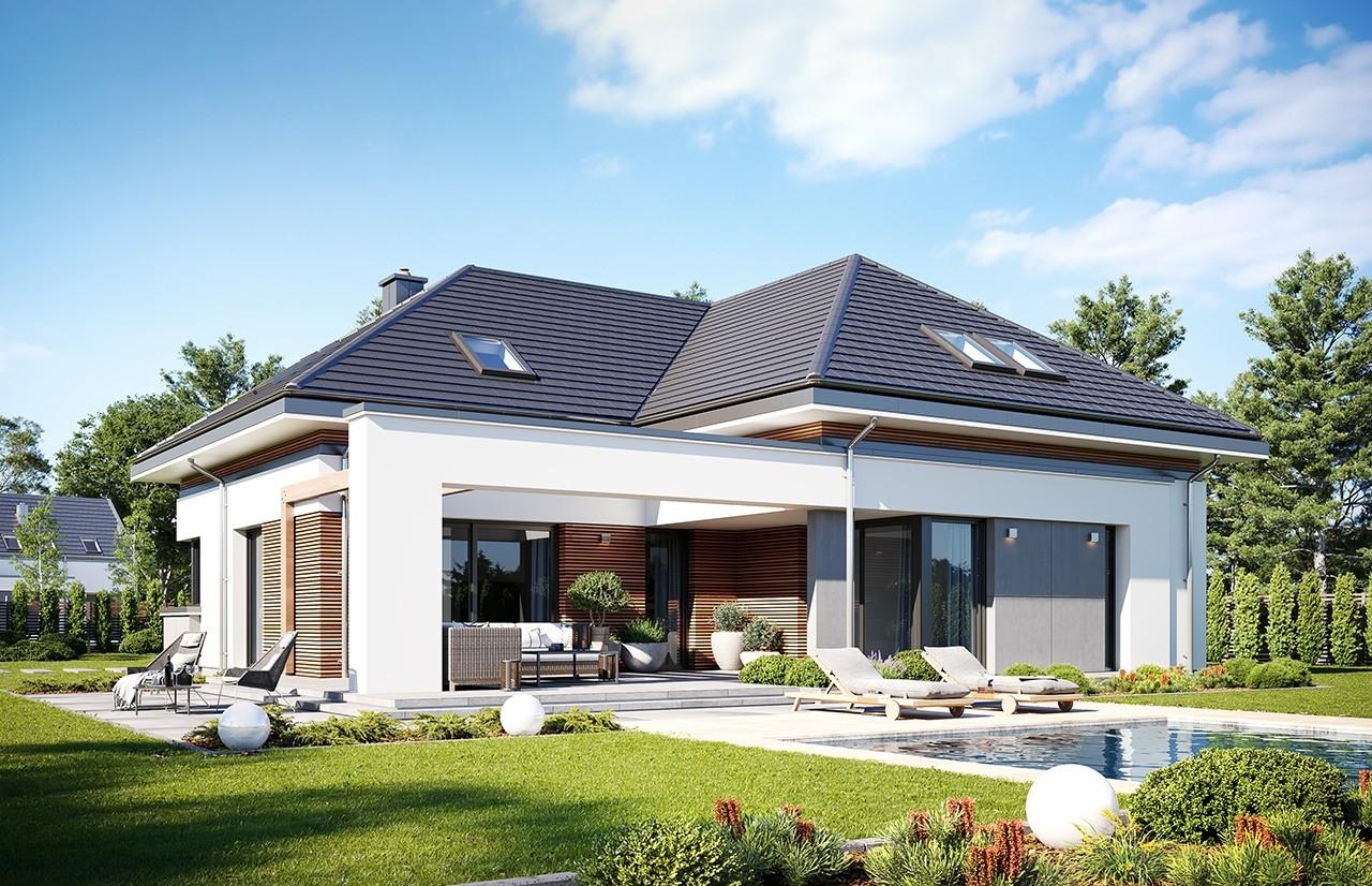 Projekt domu Hiacynt 3 - wizualizacja ogrodowa 2