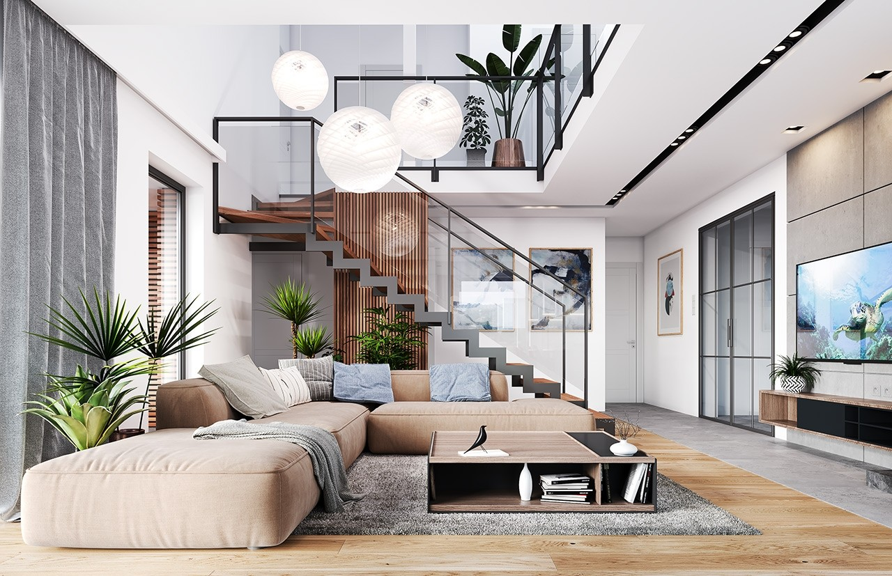 Projekt domu Hiacynt 3 - wizualizacja wnętrza odbicie lustrzane