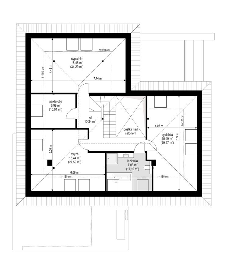 Projekt domu Hiacynt 4 - rzut poddasza