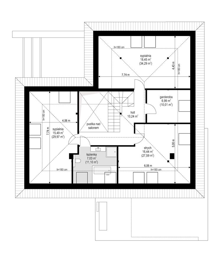 Projekt domu Hiacynt 4 - rzut poddasza odbicie lustrzane