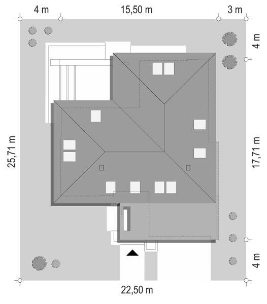 Projekt domu Hiacynt 4 - sytuacja odbicie lustrzane