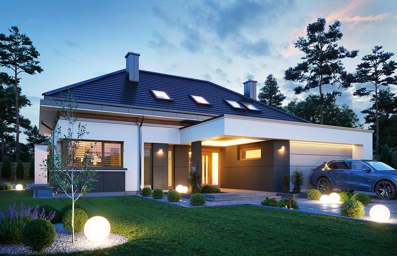 Projekt domu Hiacynt 4 - wizualizacja frontu odbicie lustrzane