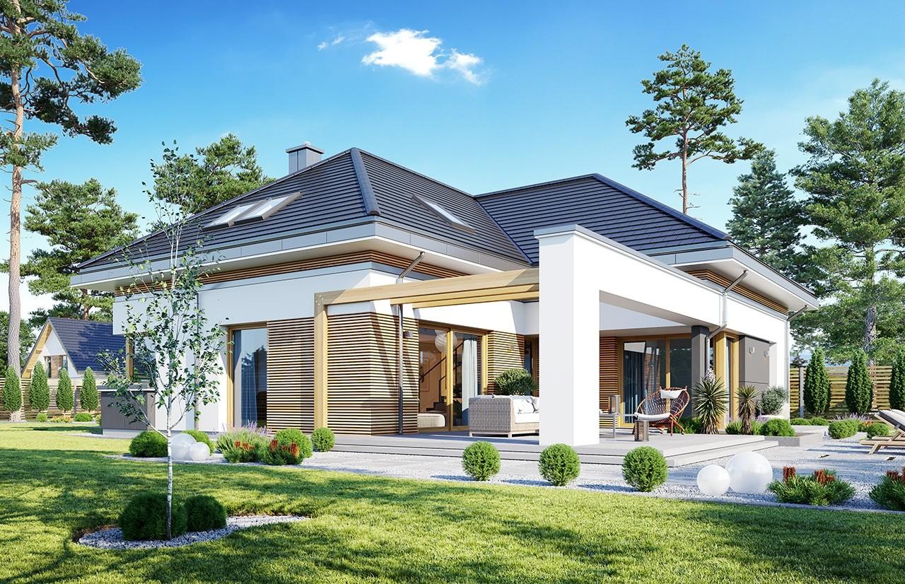 Projekt domu Hiacynt 4 - wizualizacja ogrodowa