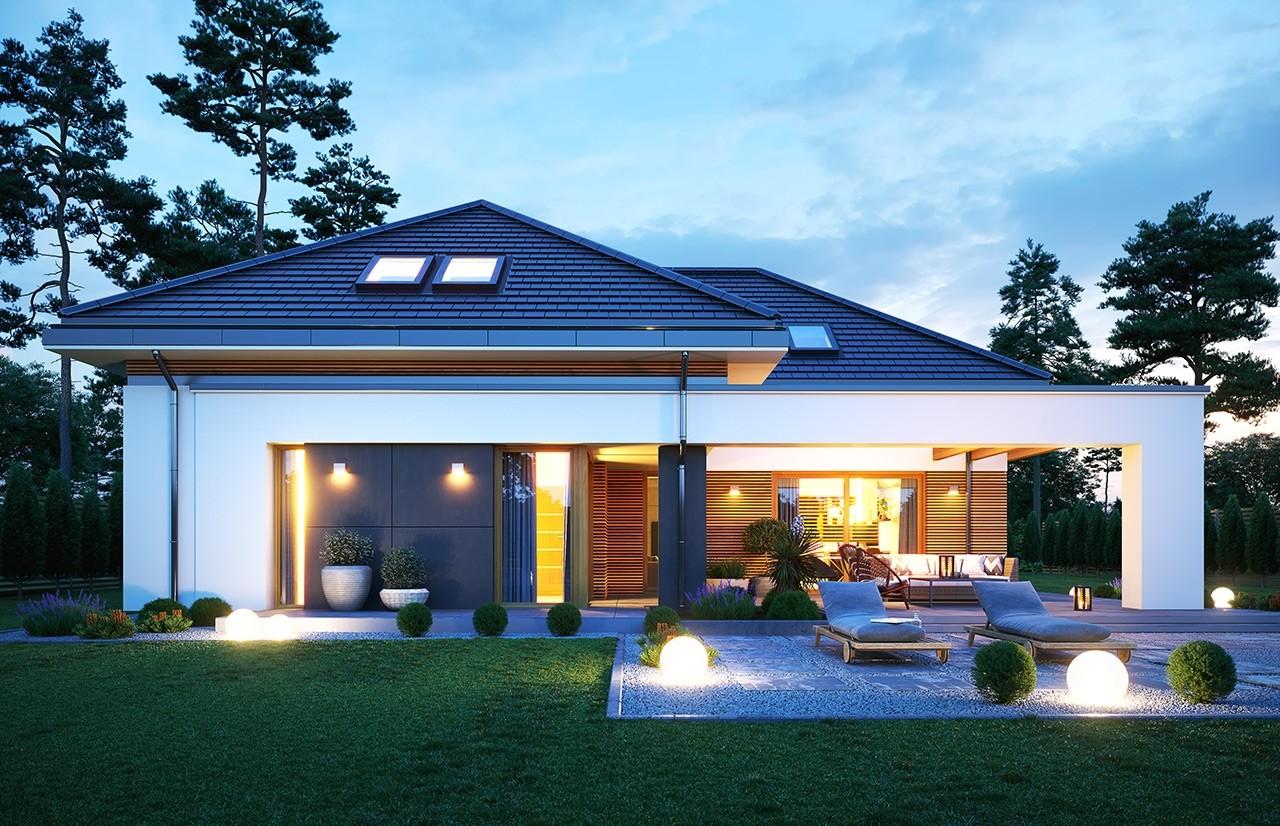 Projekt domu Hiacynt 4 - wizualizacja ogrodowa odbicie lustrzane