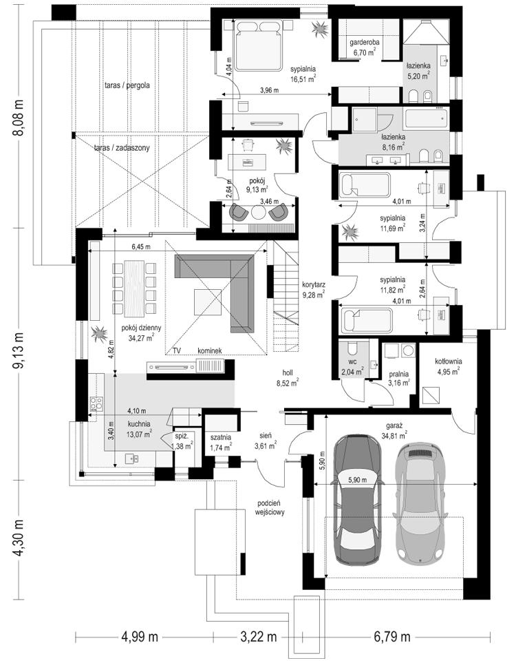 Projekt domu Hiacynt 5 - rzut parteru odbicie lustrzane