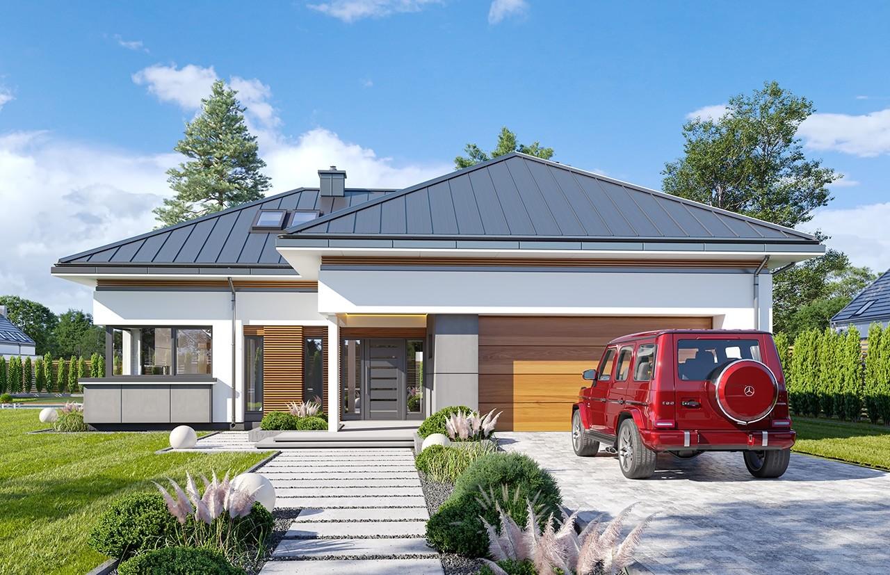 Projekt domu Hiacynt 5 - wizualizacja frontu odbicie lustrzane