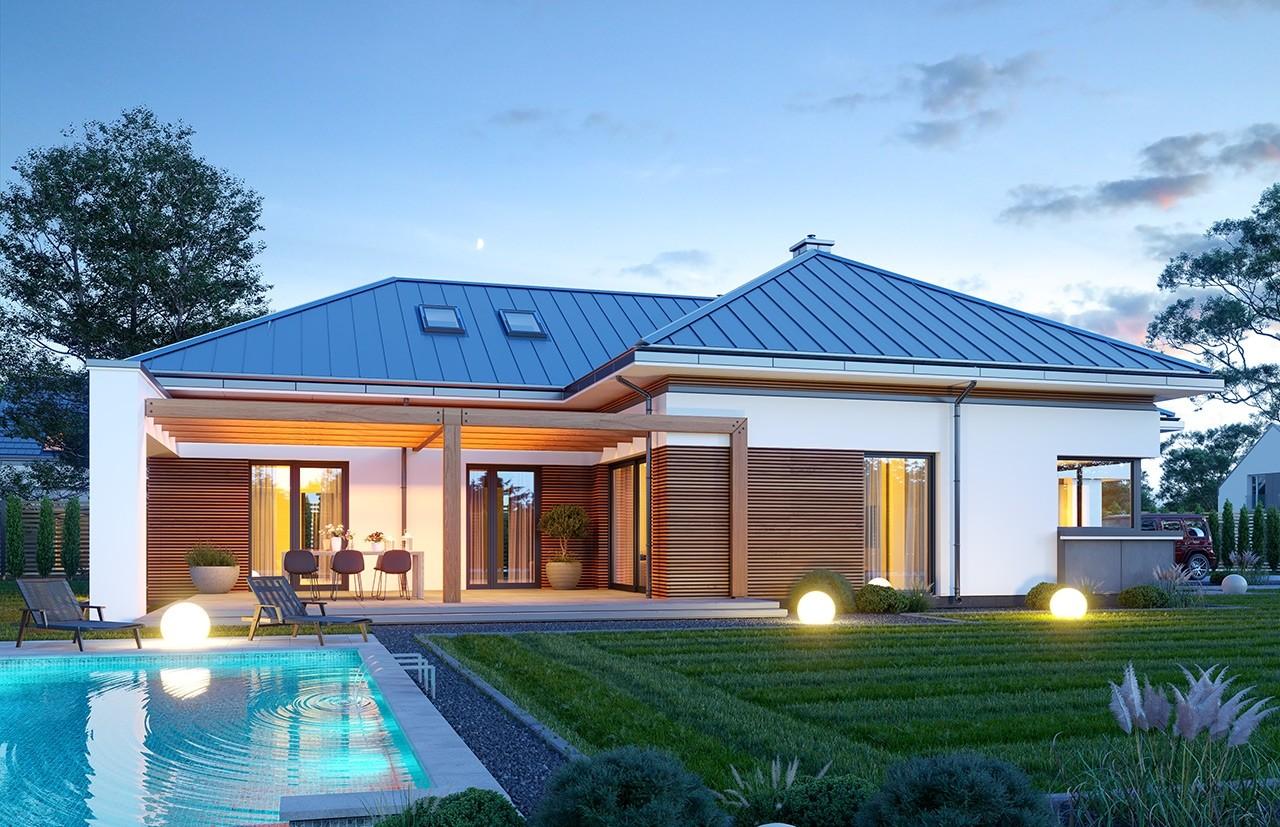 Projekt domu Hiacynt 5 - wizualizacja ogrodowa odbicie lustrzane