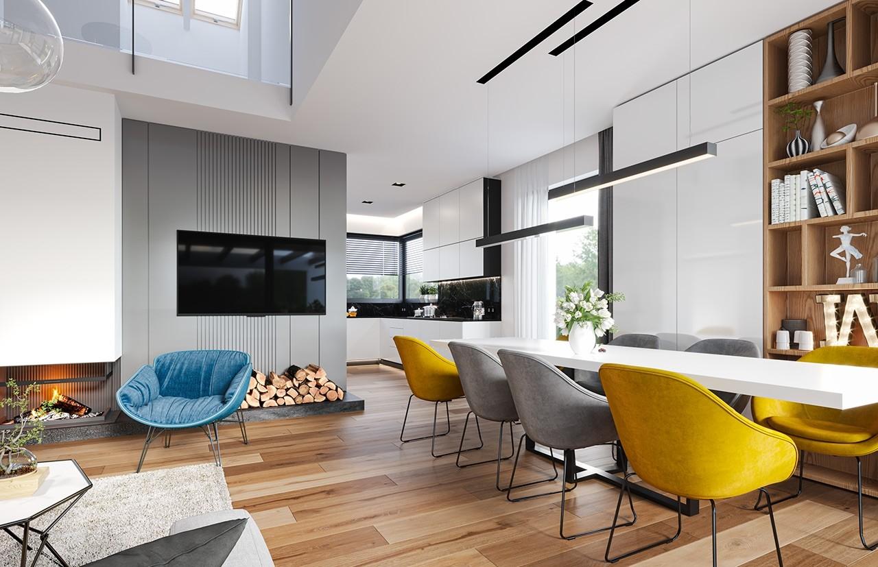 Projekt domu Hiacynt 5 - wizualizacja wnętrza odbicie lustrzane