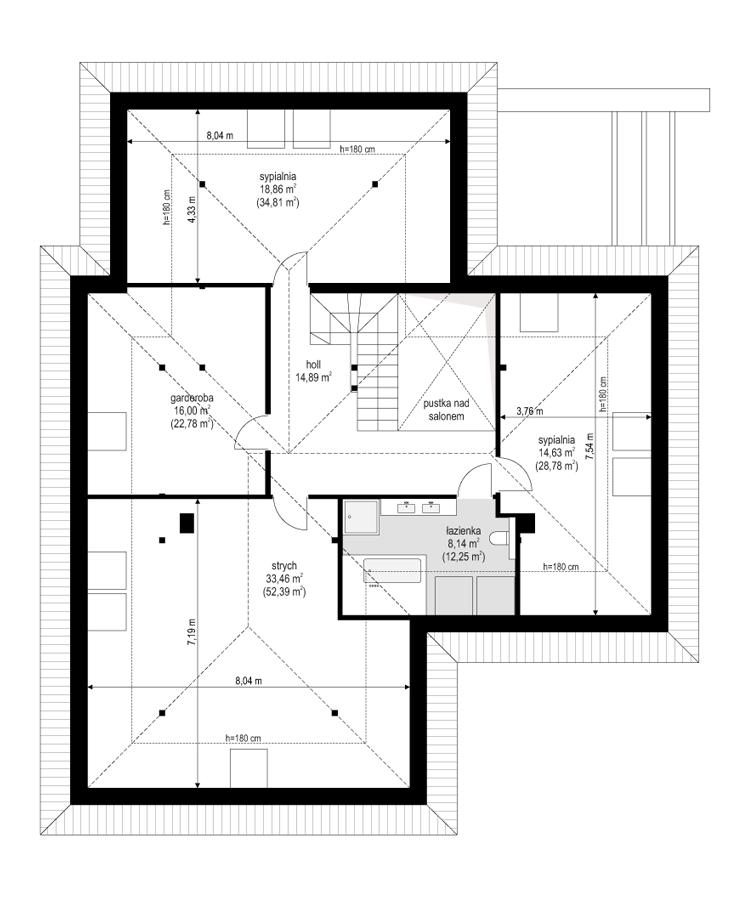 Projekt domu Hiacynt 6 - rzut poddasza
