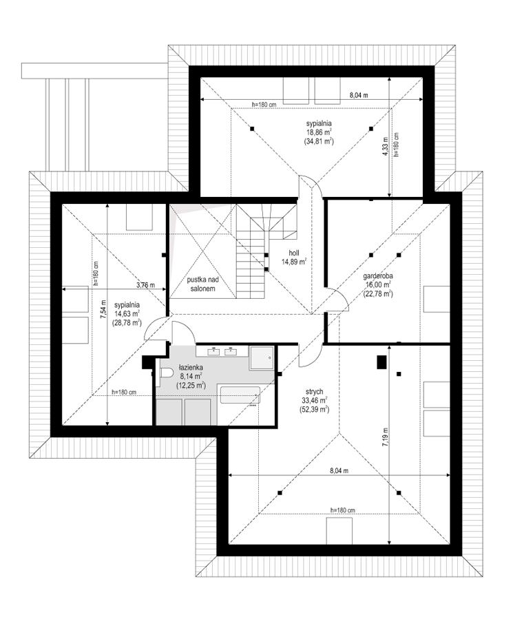 Projekt domu Hiacynt 6 - rzut poddasza odbicie lustrzane