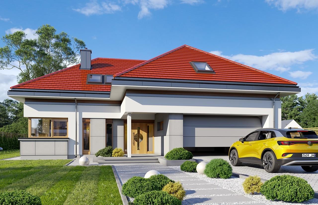 Projekt domu Hiacynt 6 - wizualizacja frontu odbicie lustrzane
