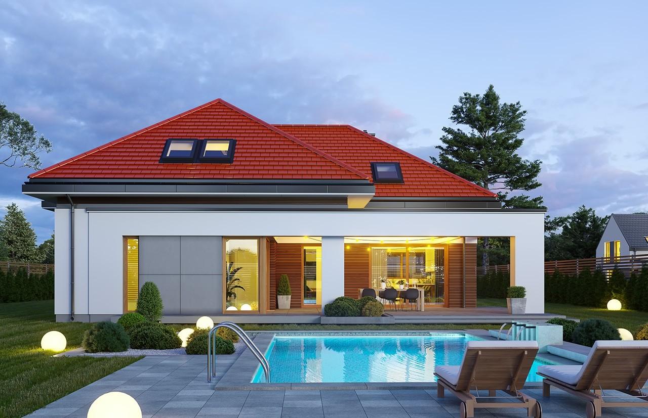 Projekt domu Hiacynt 6 - wizualizacja ogrodowa odbicie lustrzane