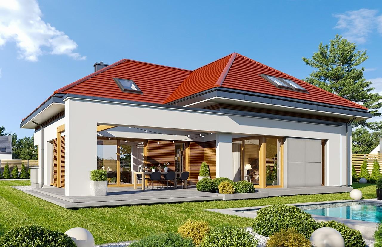 Projekt domu Hiacynt 6 - wizualizacja ogrodowa