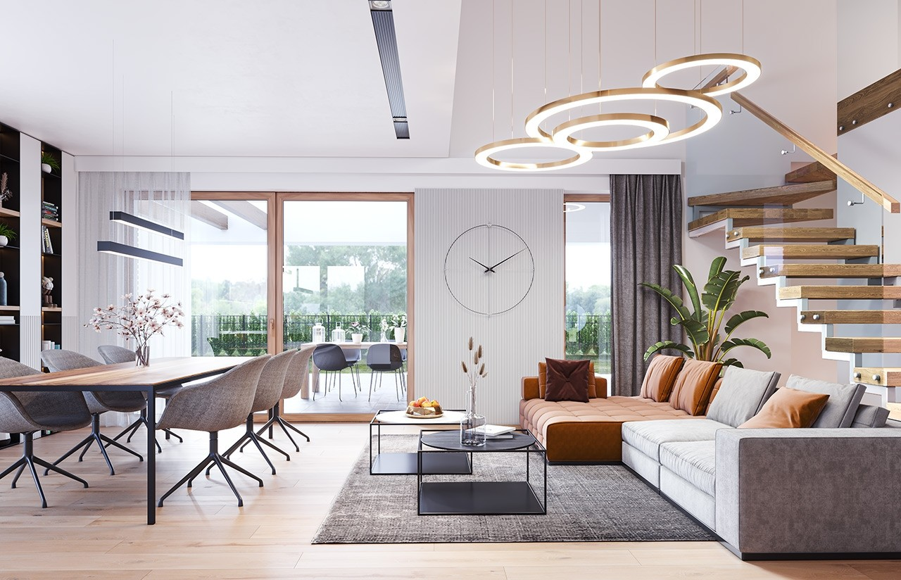 Projekt domu Hiacynt 6 - wizualizacja wnętrza odbicie lustrzane