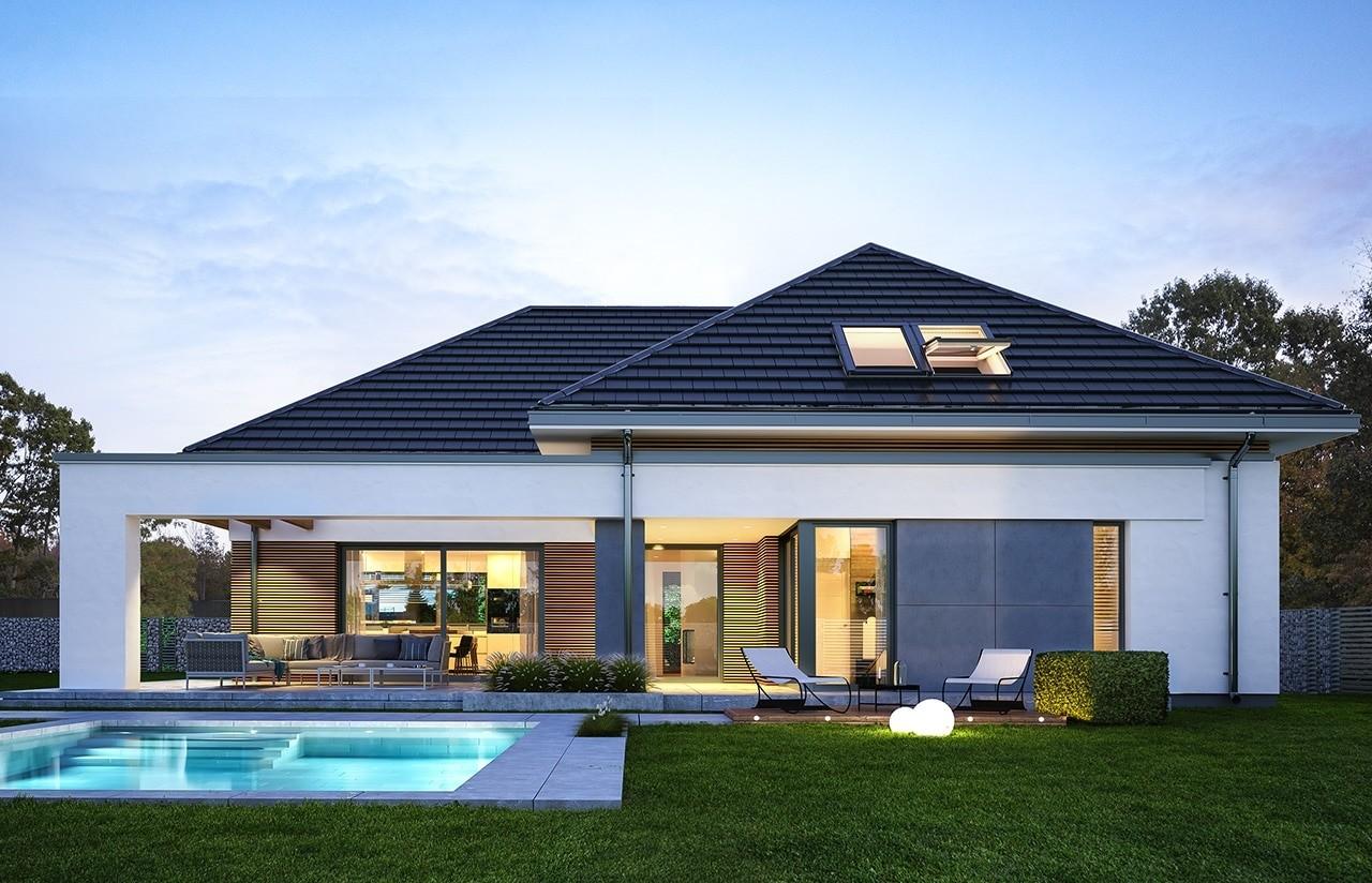 Projekt domu Hiacynt wariant B - wizualizacja tylna