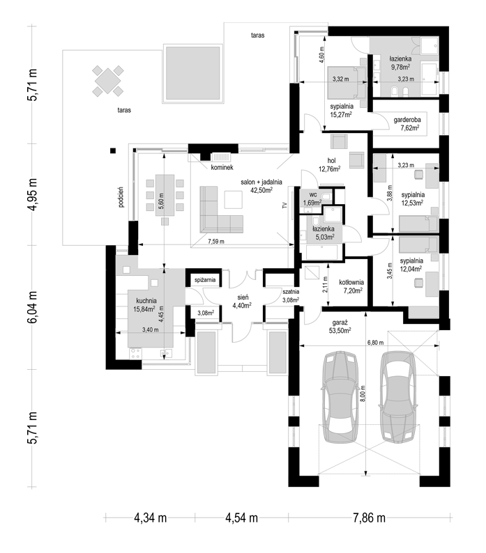 Projekt domu Jedyny B - rzut parteru odbicie lustrzane