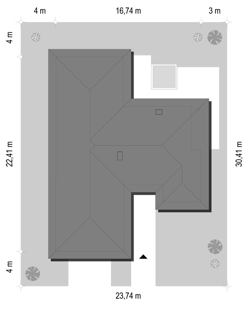 Projekt domu Jedyny B - sytuacja