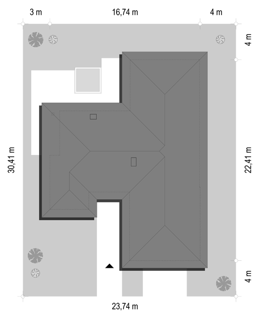 Projekt domu Jedyny B - sytuacja odbicie lustrzane