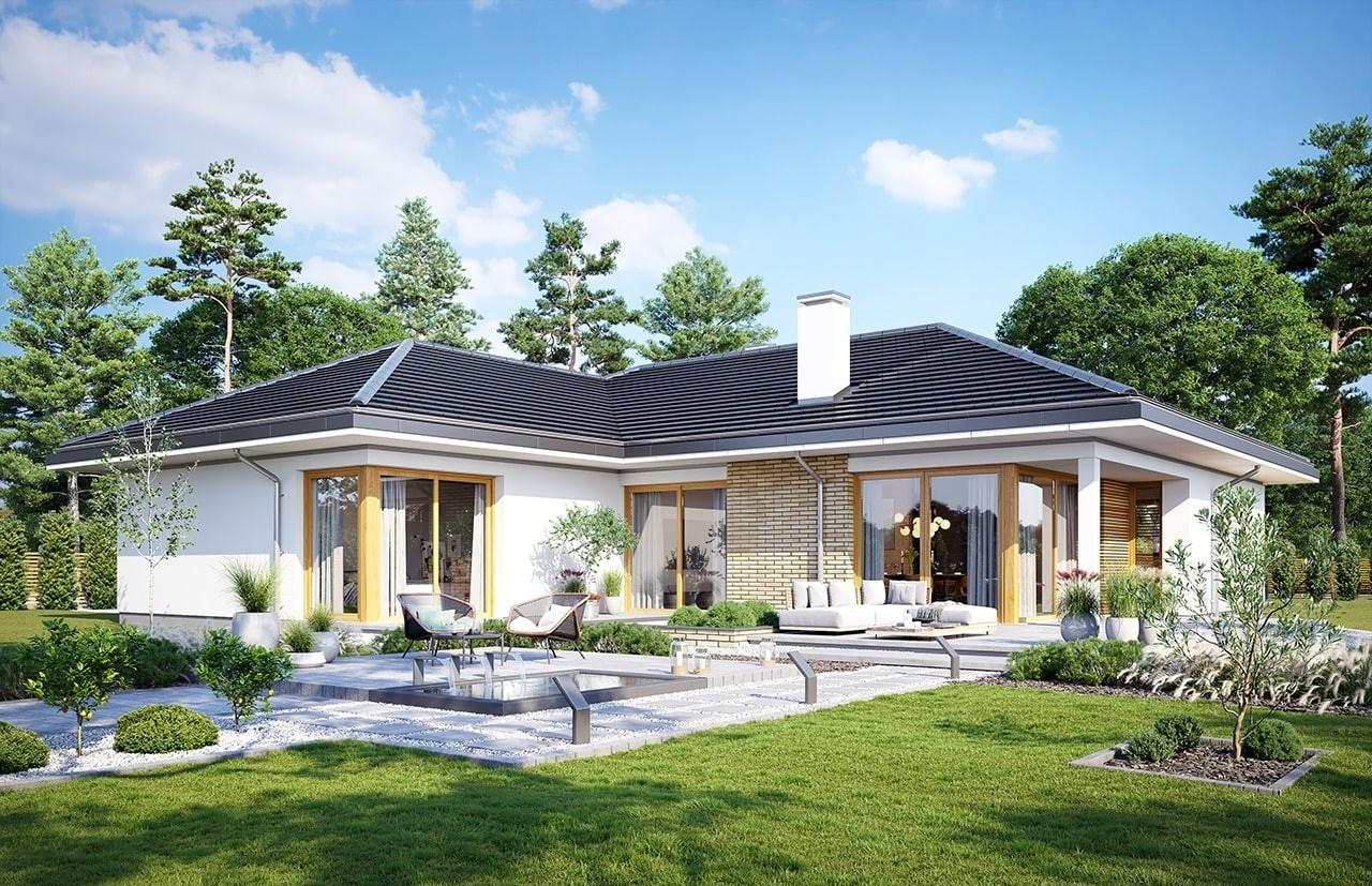 Projekt domu Jedyny B - wizualizacja ogrodowa odbicie lustrzane