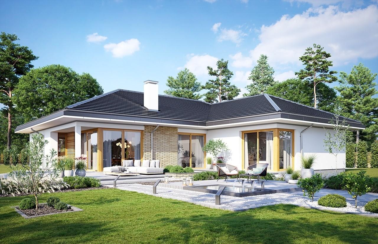 Projekt domu Jedyny B - wizualizacja ogrodowa